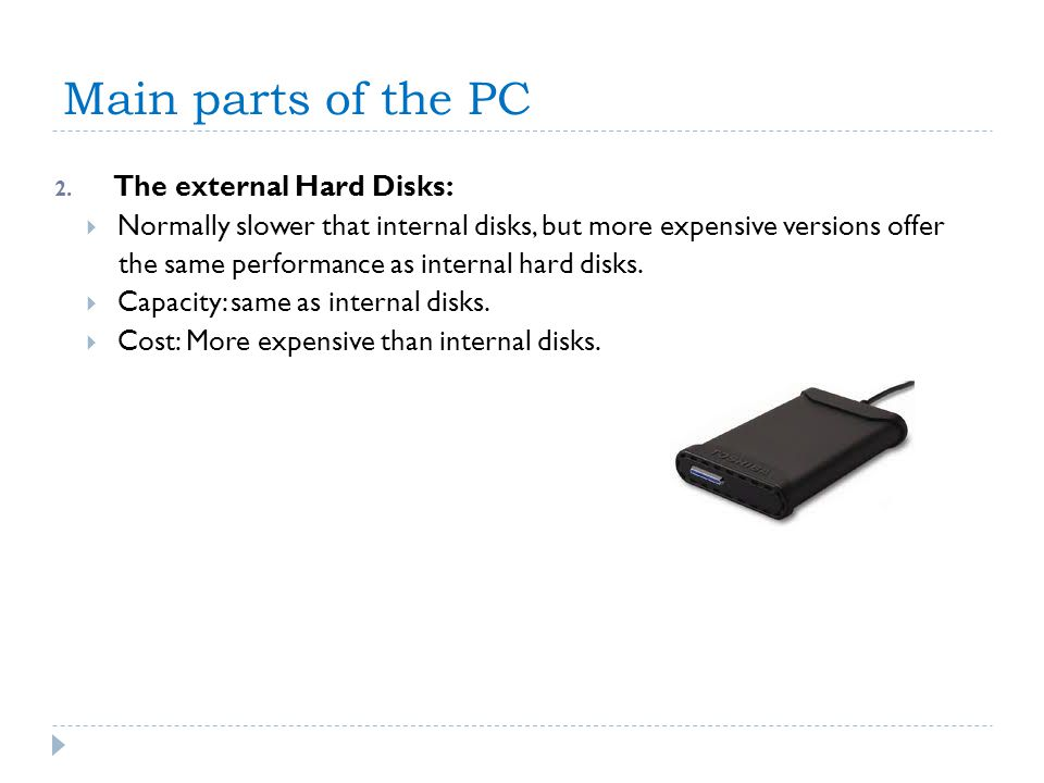 Main parts of the PC The external Hard Disks: