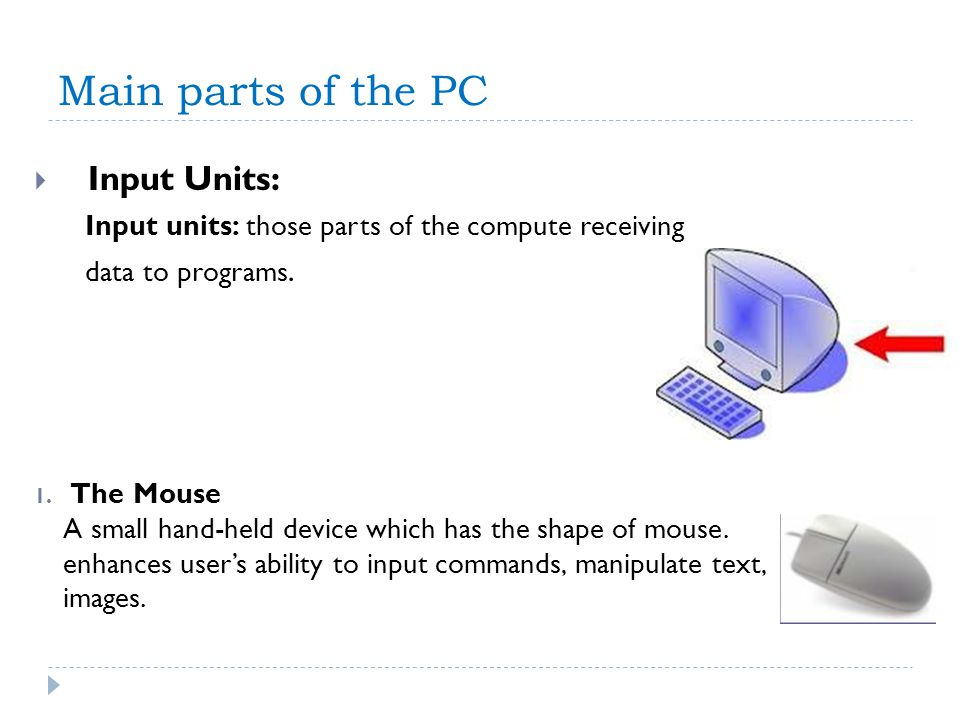 Main parts of the PC Input Units: