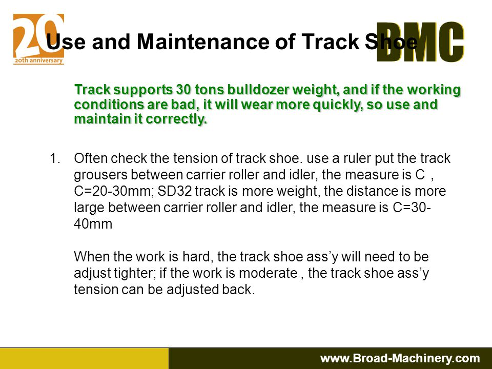 Use and Maintenance of Track Shoe