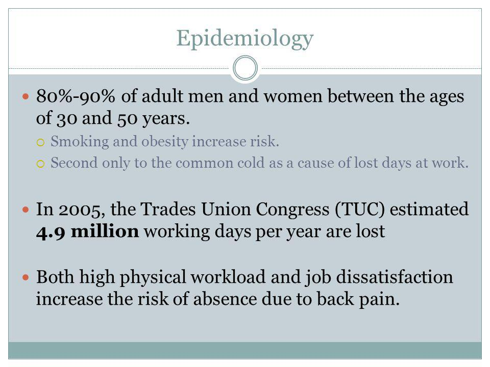 Epidemiology 80%-90% of adult men and women between the ages of 30 and 50 years. Smoking and obesity increase risk.