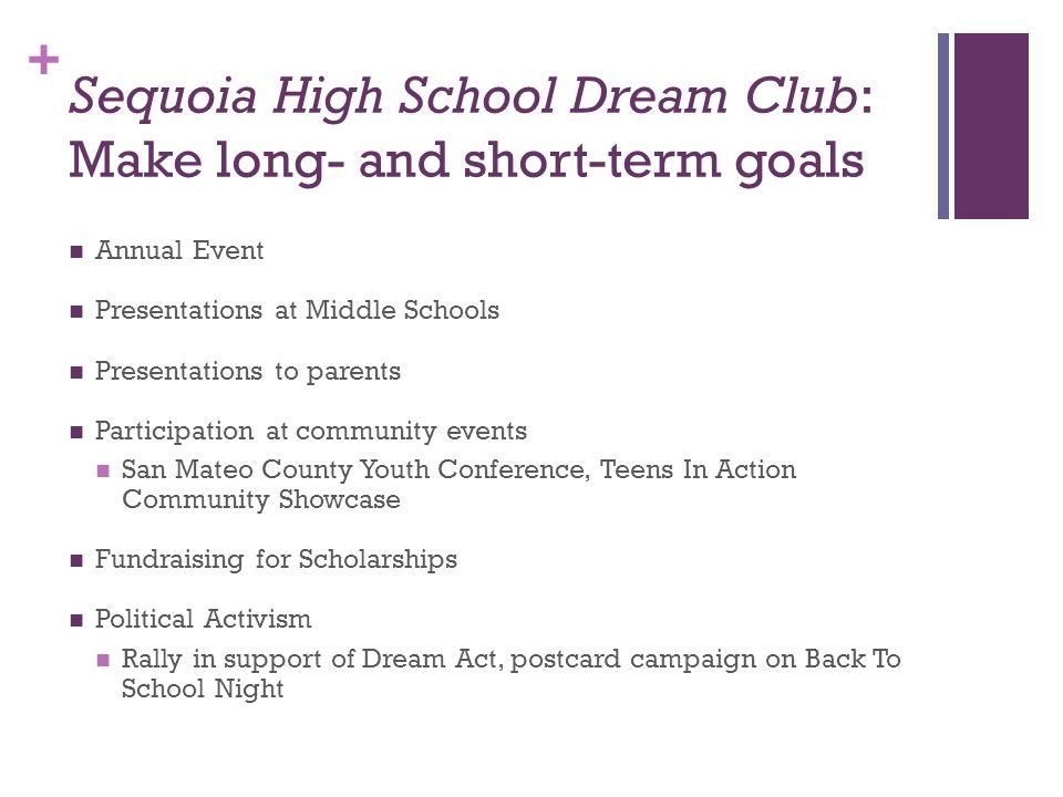 Sequoia High School Dream Club: Make long- and short-term goals
