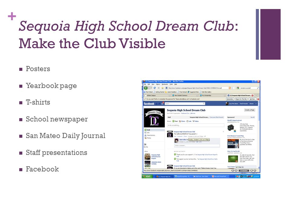 Sequoia High School Dream Club: Make the Club Visible