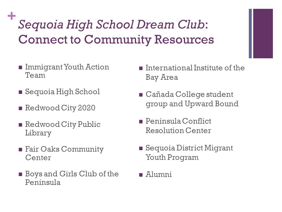 Sequoia High School Dream Club: Connect to Community Resources