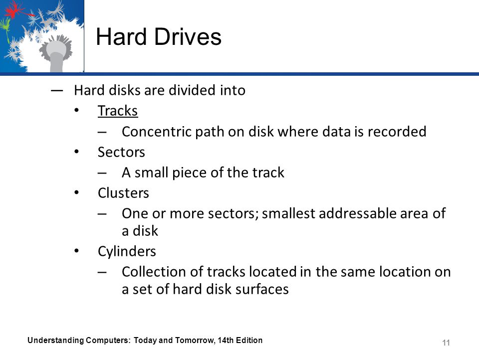 Hard Drives Hard disks are divided into Tracks