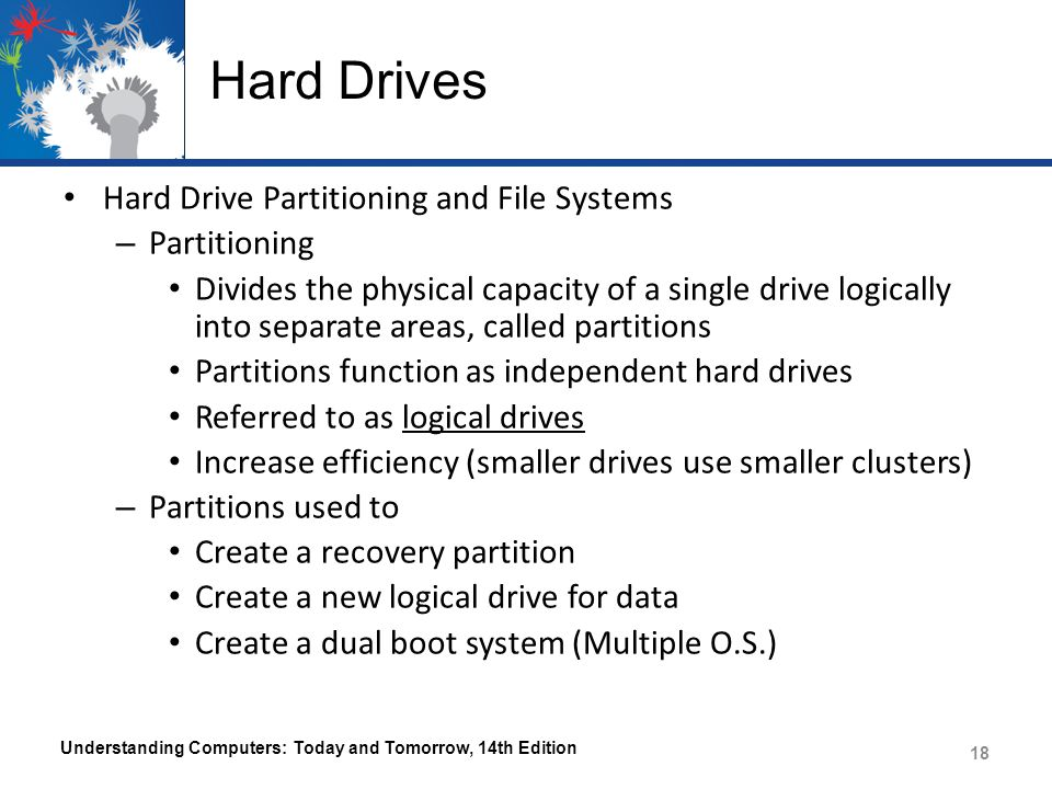 Hard Drives Hard Drive Partitioning and File Systems Partitioning