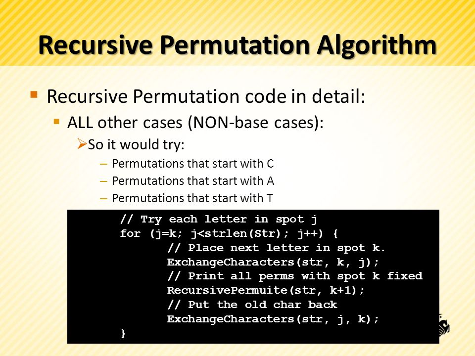 Recursive Permutation Algorithm