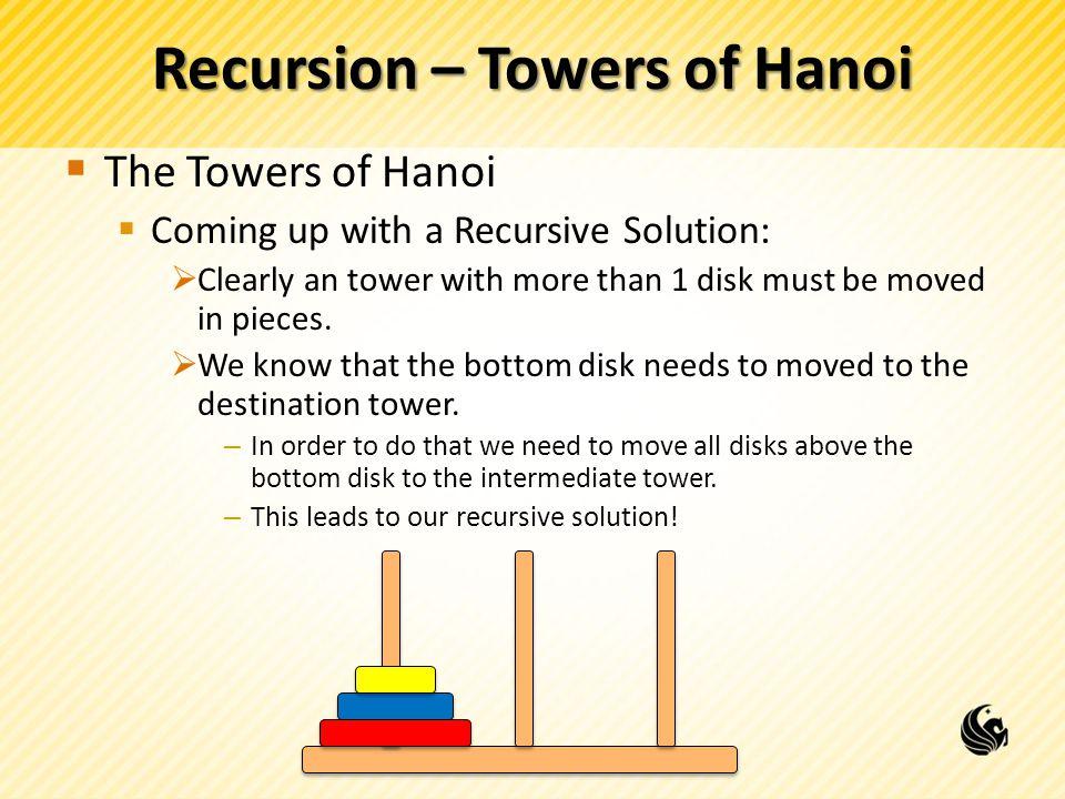 Recursion – Towers of Hanoi