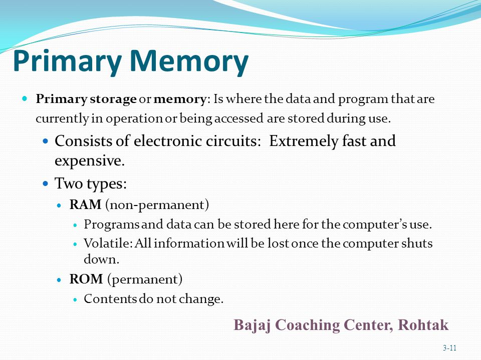 Chapter 3 Primary Memory.