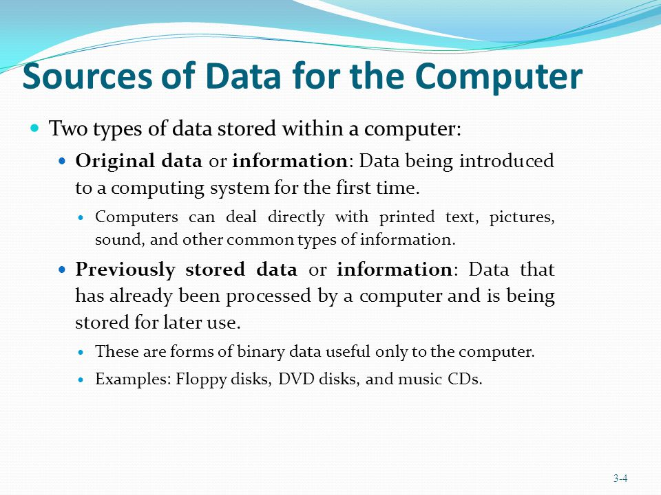 Sources of Data for the Computer