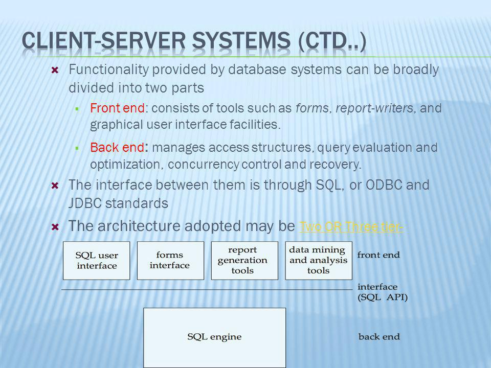 Client-Server Systems (ctd..)