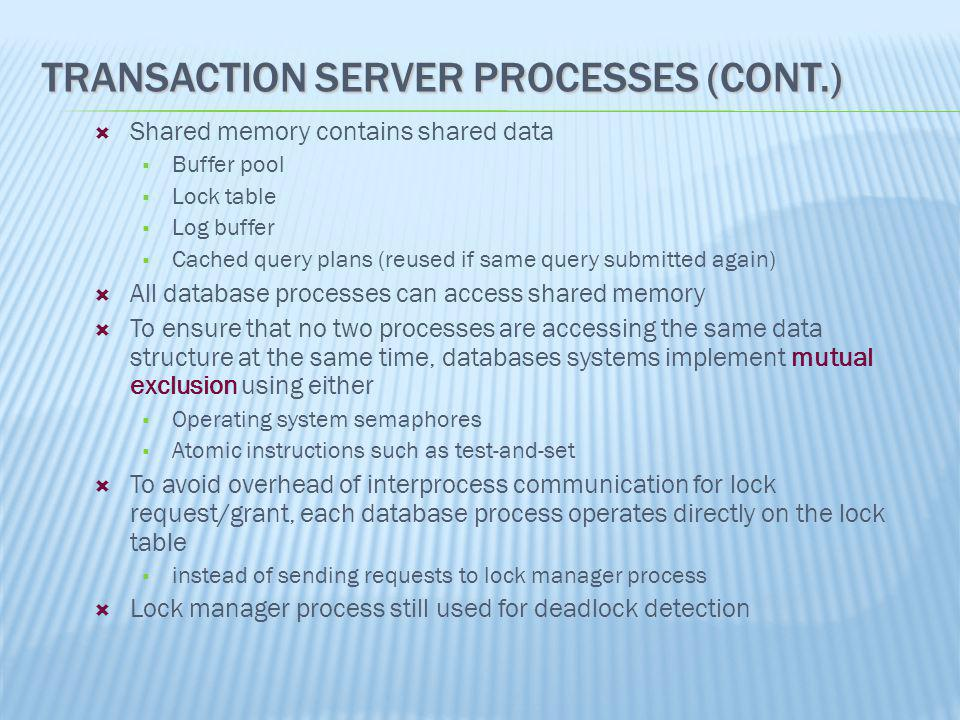 Transaction Server Processes (Cont.)