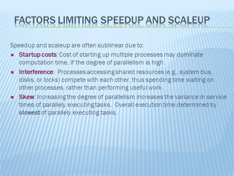 Factors Limiting Speedup and Scaleup