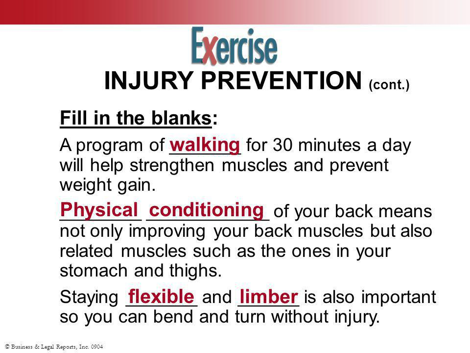 INJURY PREVENTION (cont.)
