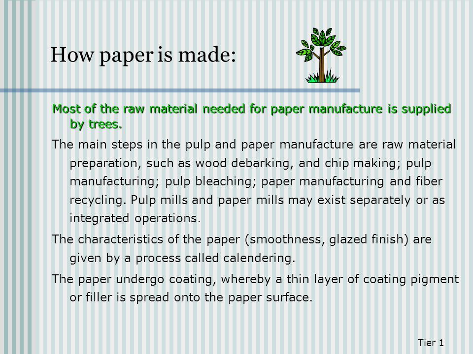 How paper is made: Most of the raw material needed for paper manufacture is supplied by trees.