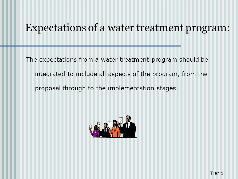 Expectations of a water treatment program: