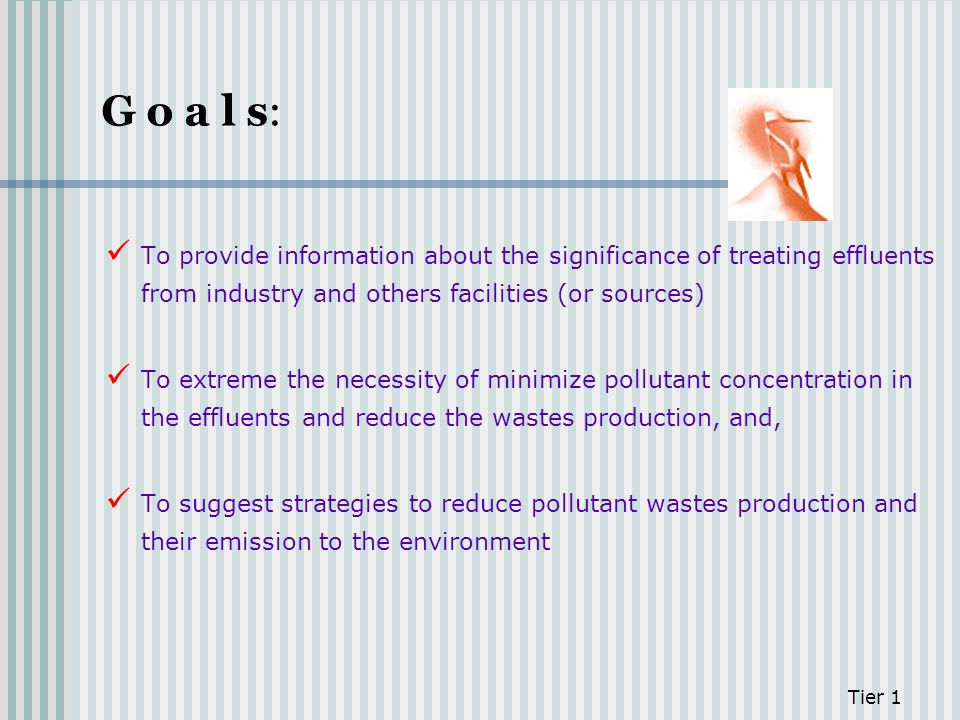 G o a l s: To provide information about the significance of treating effluents from industry and others facilities (or sources)