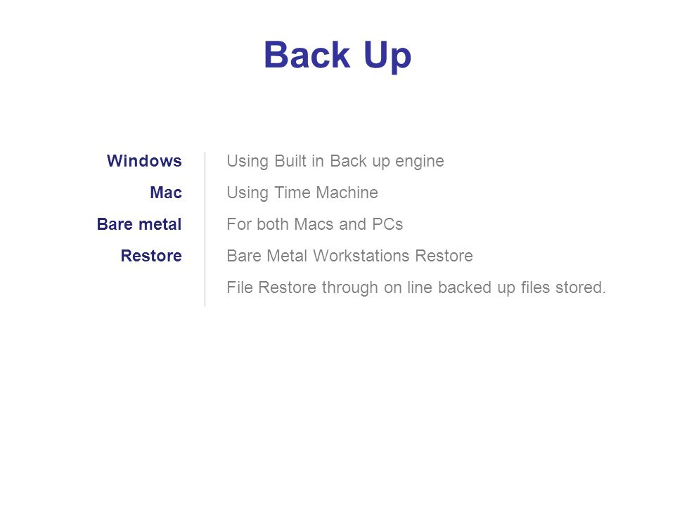Back Up Windows Mac Bare metal Restore Using Built in Back up engine