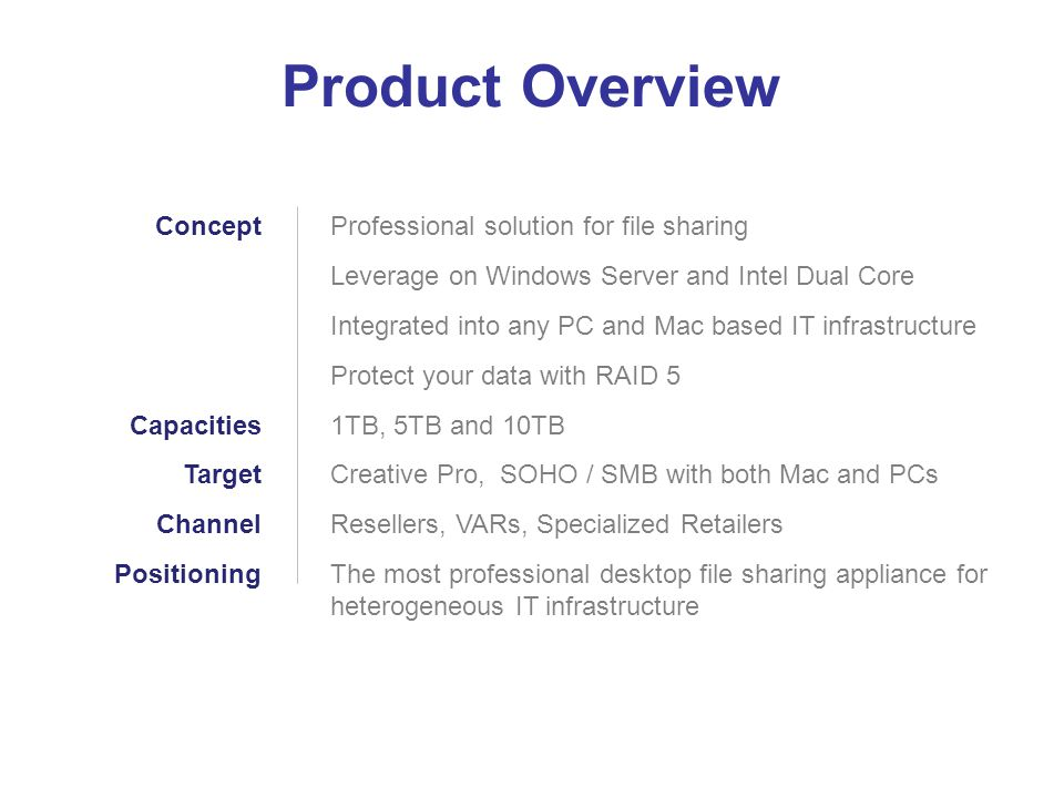 Product Overview Concept Capacities Target Channel Positioning
