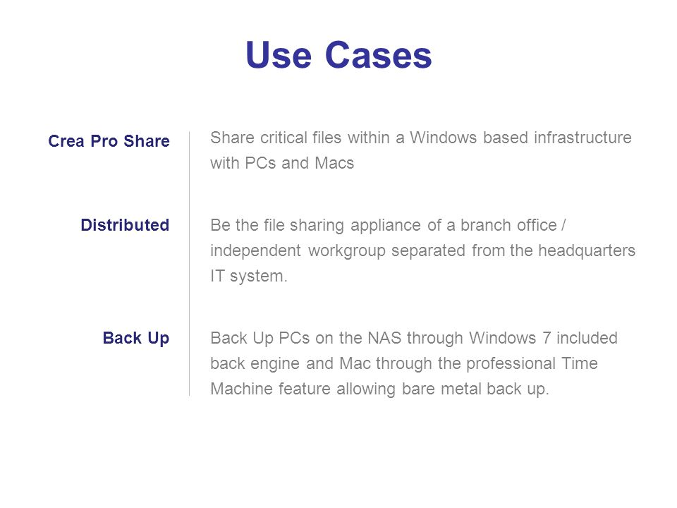 Use Cases Share critical files within a Windows based infrastructure with PCs and Macs.