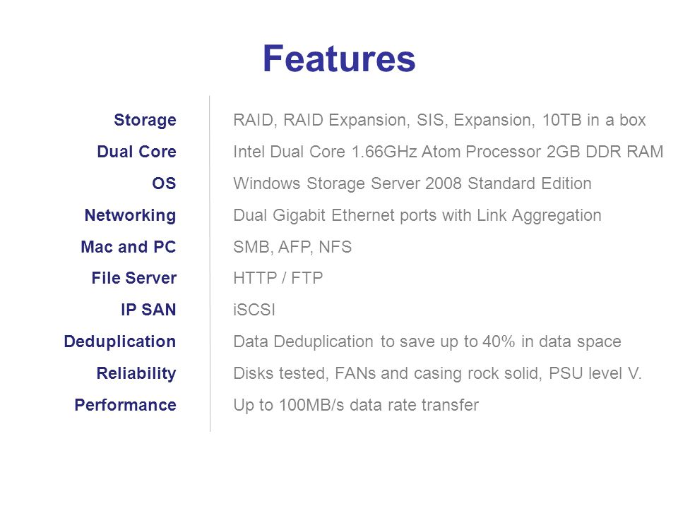 Features Storage Dual Core OS Networking Mac and PC File Server IP SAN