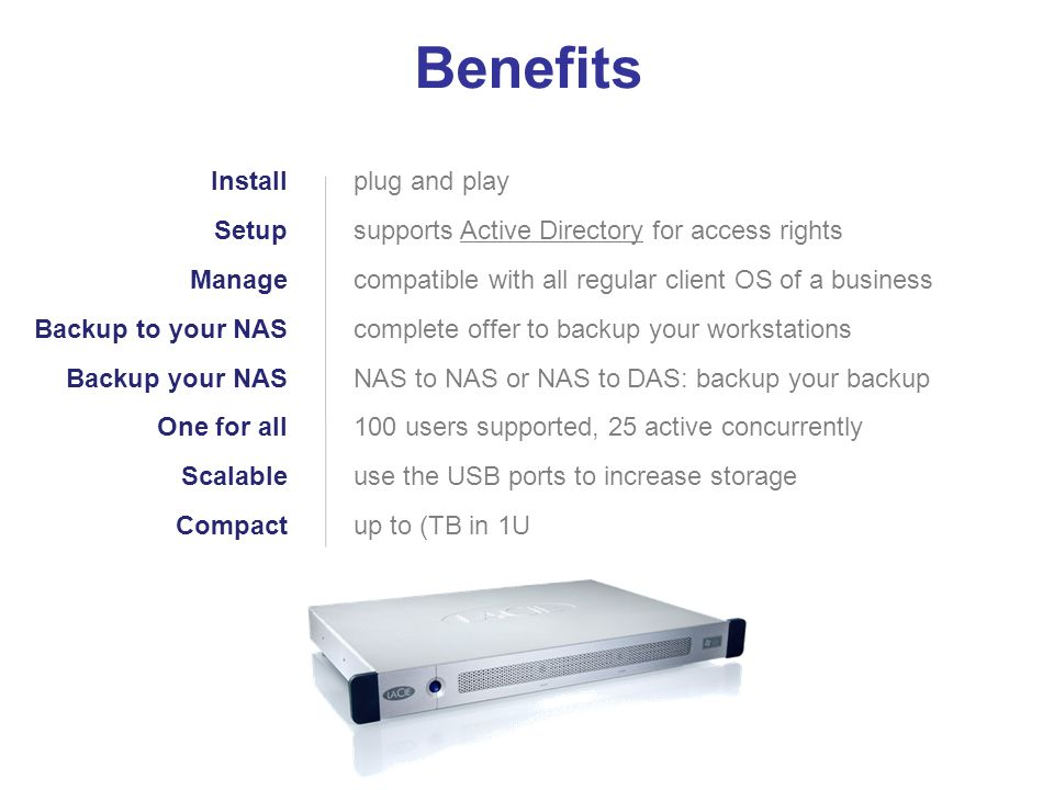 Benefits Install Setup Manage Backup to your NAS Backup your NAS