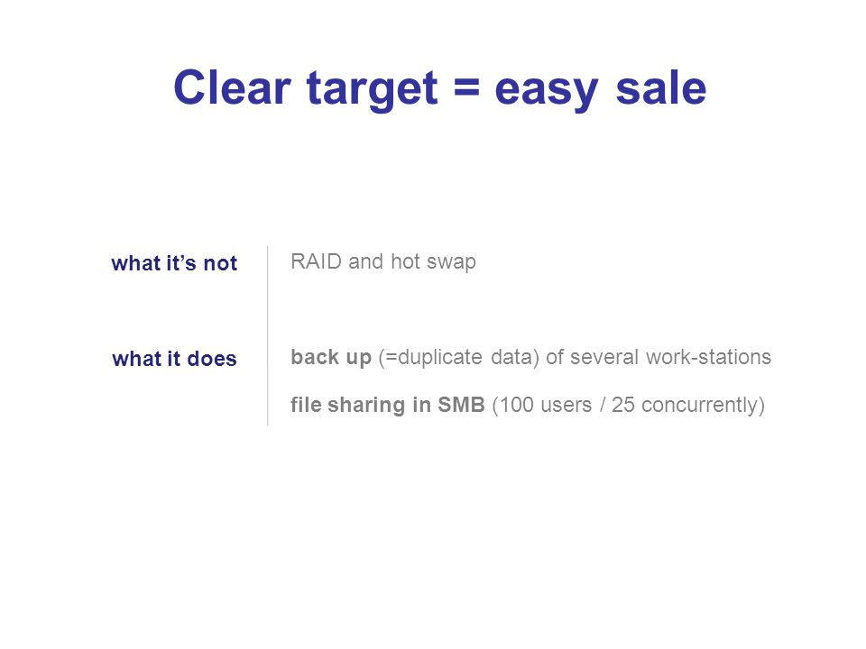 Clear target = easy sale