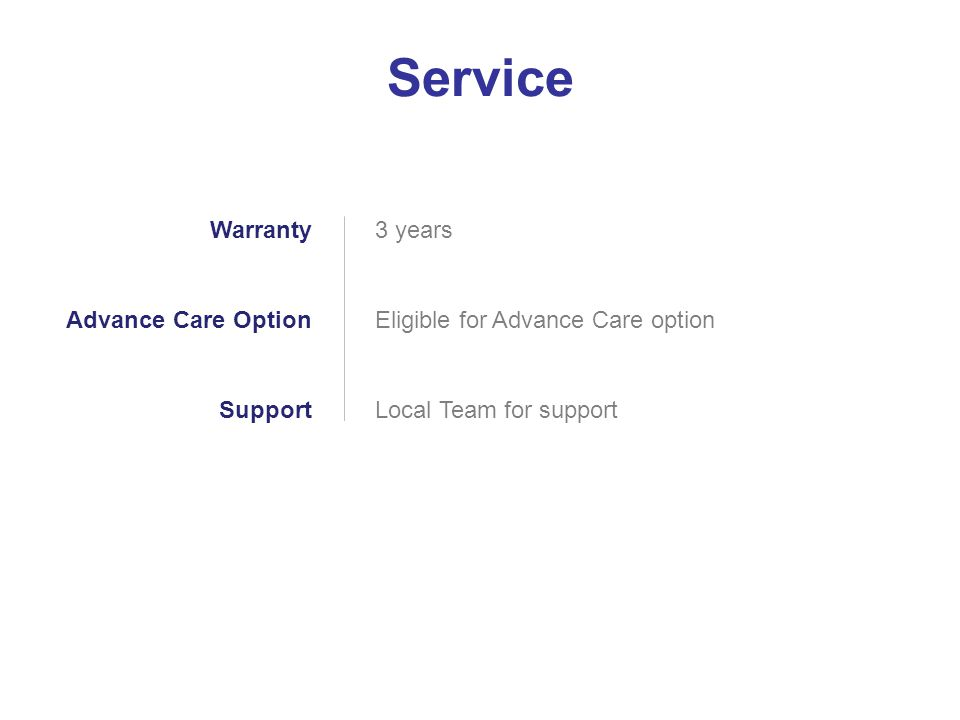 Service Warranty Advance Care Option Support 3 years