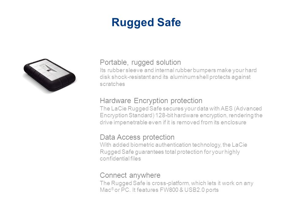 Rugged Safe Portable, rugged solution Hardware Encryption protection
