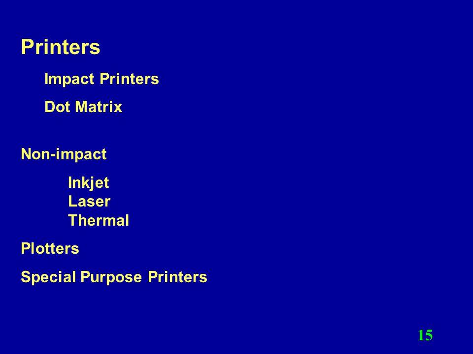 Printers Impact Printers Dot Matrix Non-impact Inkjet Laser Thermal