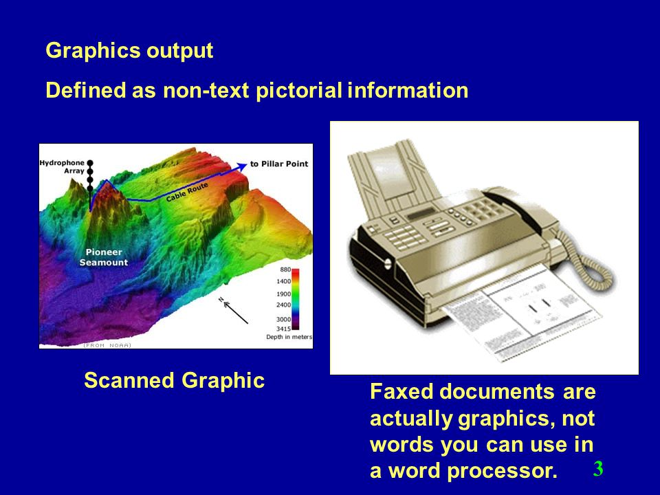 Graphics output Defined as non-text pictorial information. Scanned Graphic.
