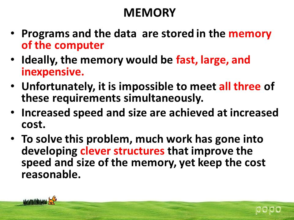 MEMORY Programs and the data are stored in the memory of the computer