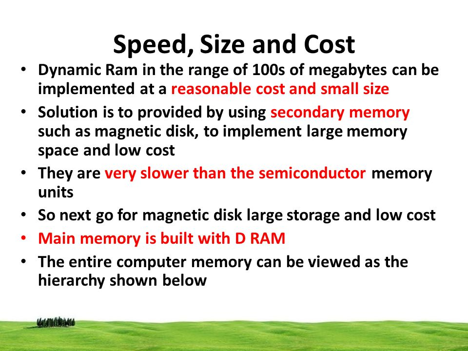 Speed, Size and Cost Dynamic Ram in the range of 100s of megabytes can be implemented at a reasonable cost and small size.