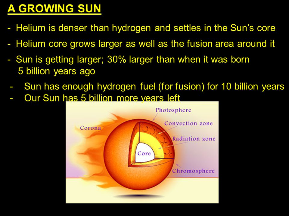 A GROWING SUN - Helium is denser than hydrogen and settles in the Sun's core. - Helium core grows larger as well as the fusion area around it.