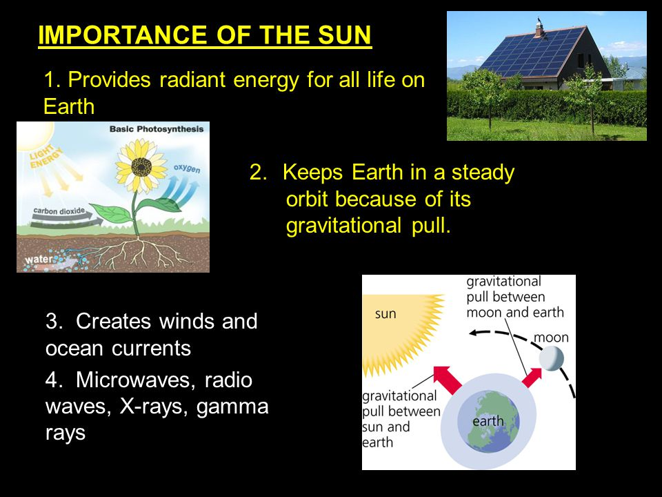 IMPORTANCE OF THE SUN Provides radiant energy for all life on Earth