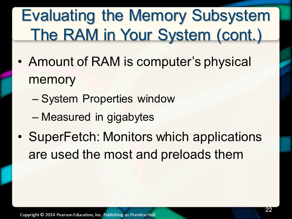 Evaluating the Memory Subsystem The RAM in Your System (cont.)