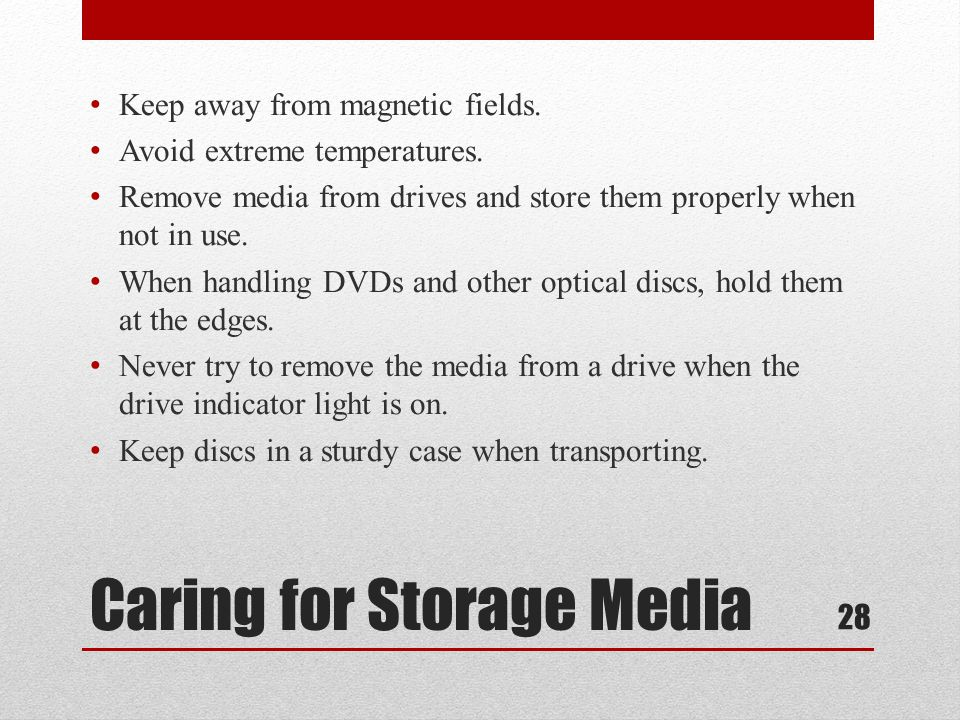 Caring for Storage Media