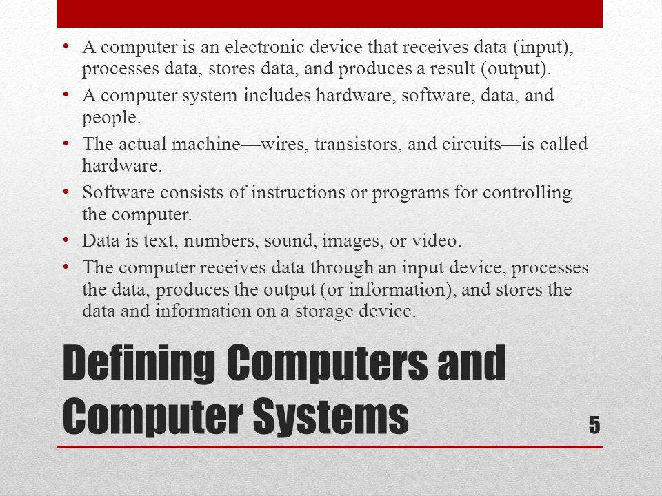 Defining Computers and Computer Systems