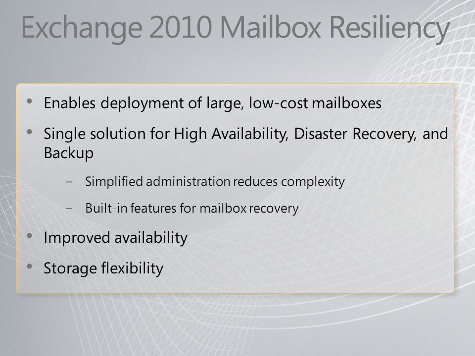 Exchange 2010 Mailbox Resiliency