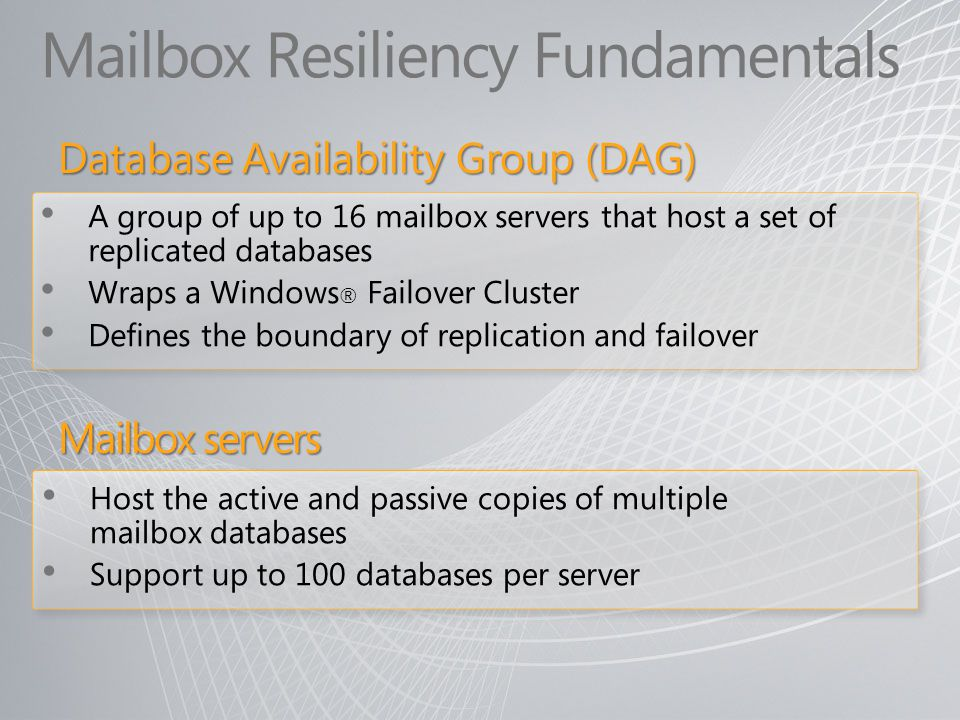 Mailbox Resiliency Fundamentals