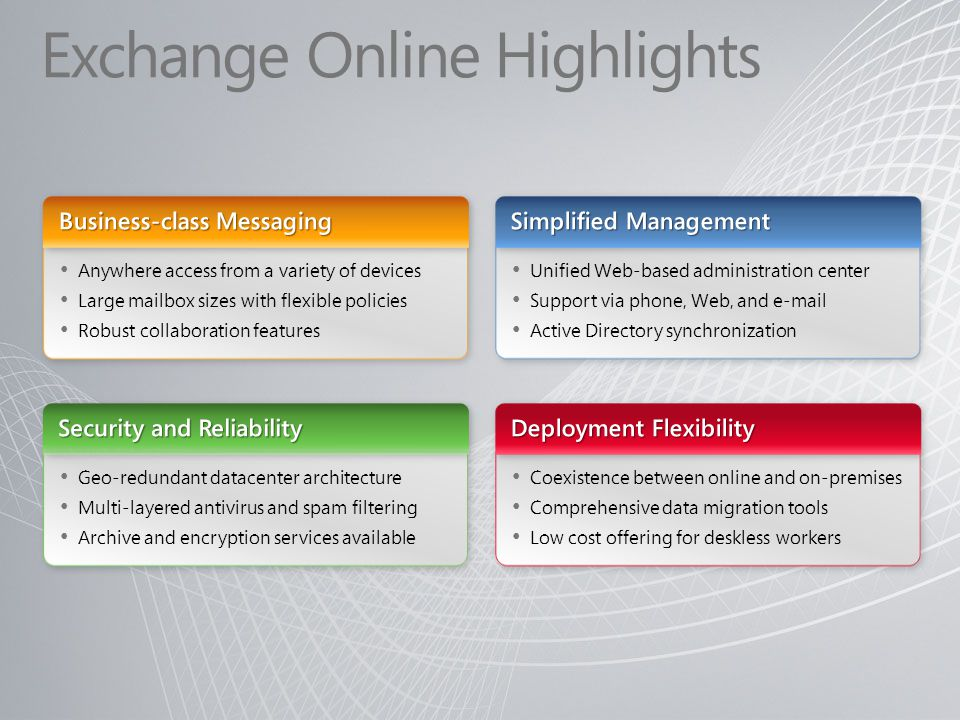 Exchange Online Highlights
