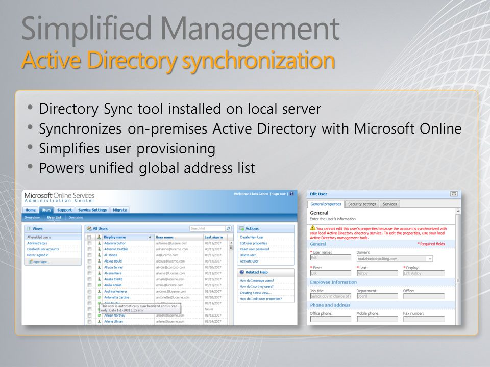 Simplified Management Active Directory synchronization
