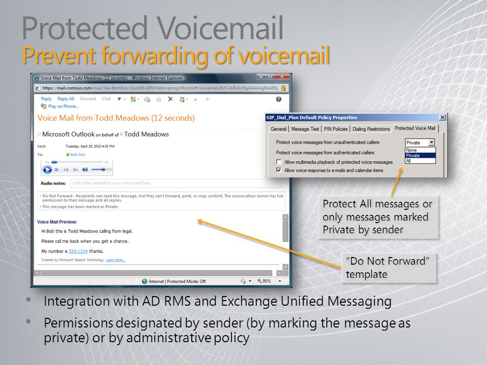 Protected Voicemail Prevent forwarding of voicemail