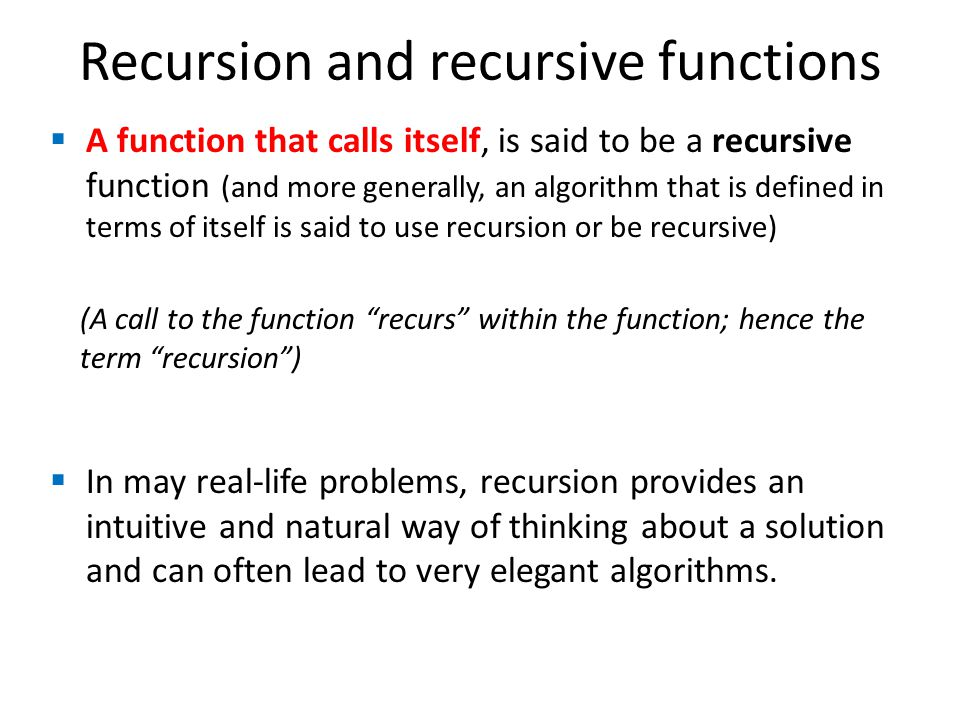 Recursion and recursive functions