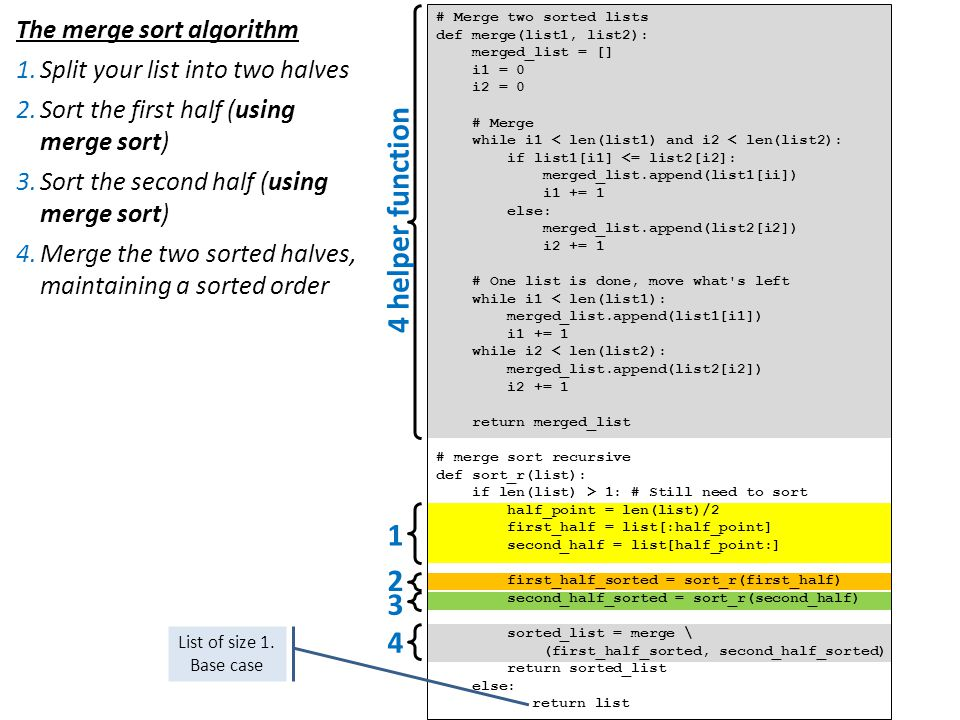 4 helper function 1 2 3 4 The merge sort algorithm
