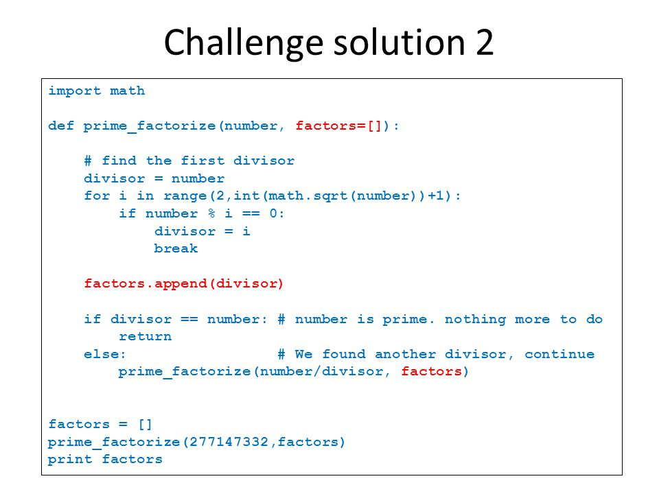 Challenge solution 2 import math