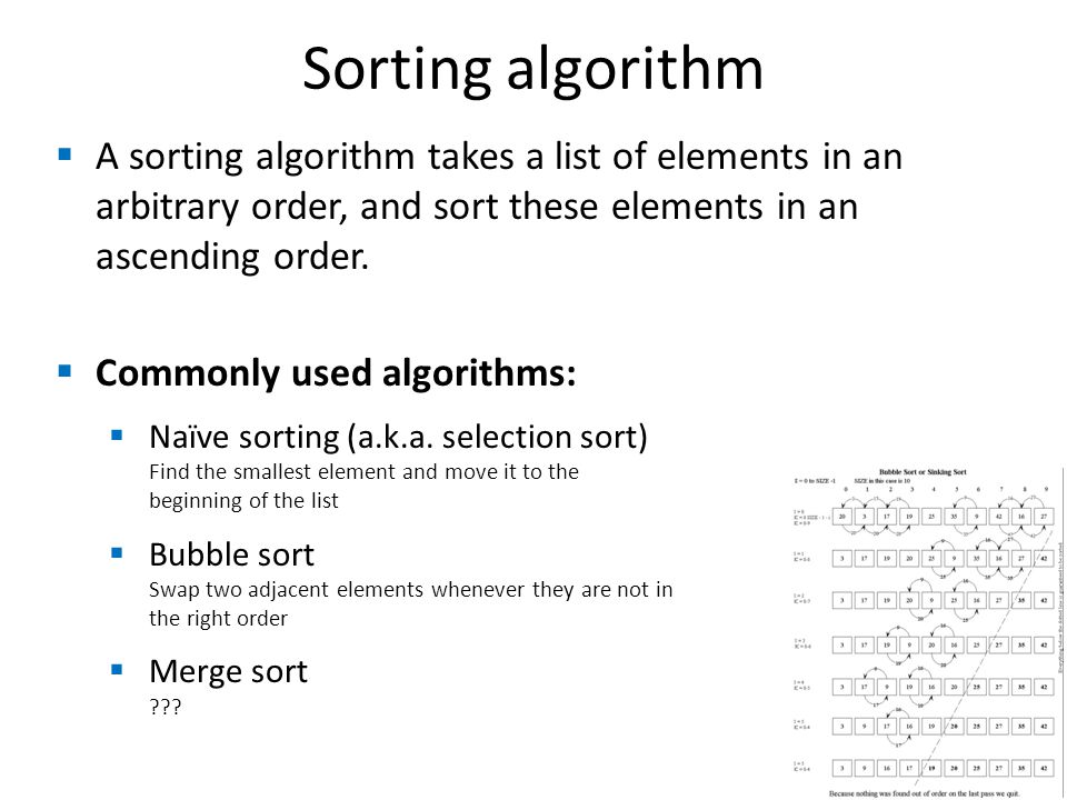 Sorting algorithm A sorting algorithm takes a list of elements in an arbitrary order, and sort these elements in an ascending order.