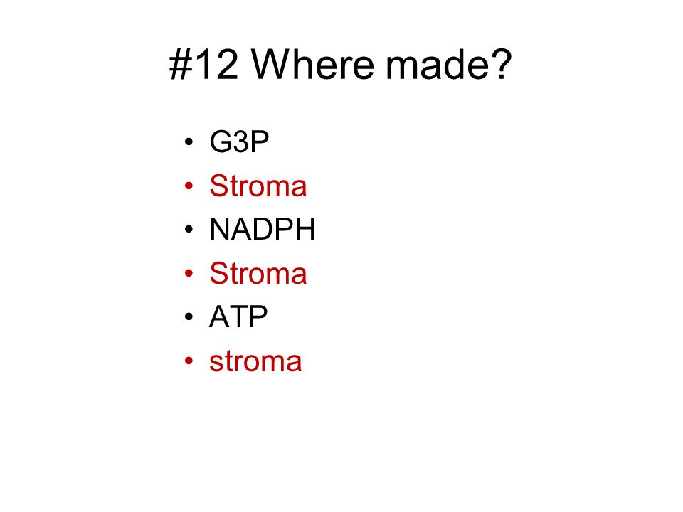 #12 Where made G3P Stroma NADPH ATP stroma