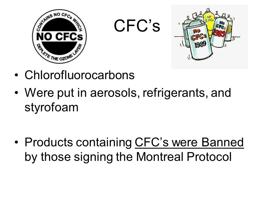 CFC's Chlorofluorocarbons