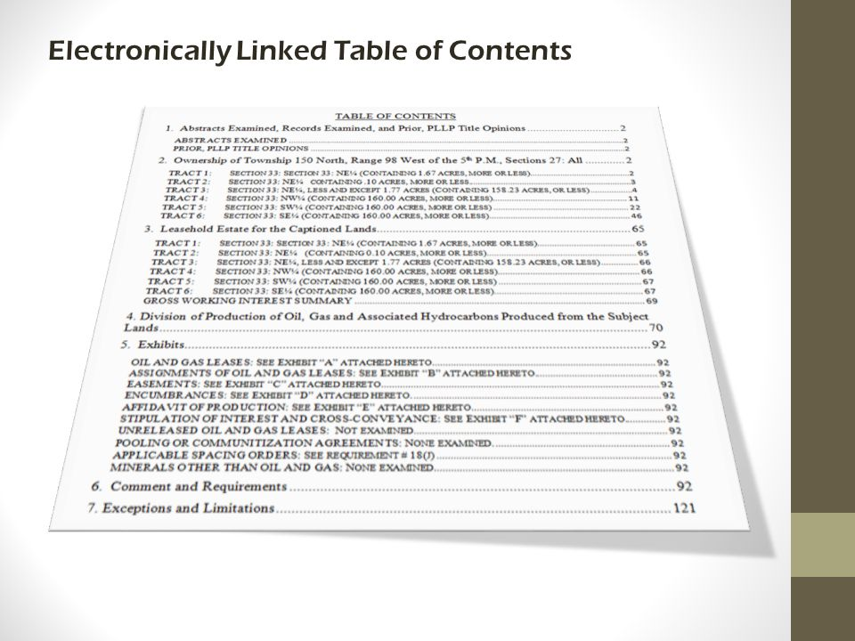 Electronically Linked Table of Contents