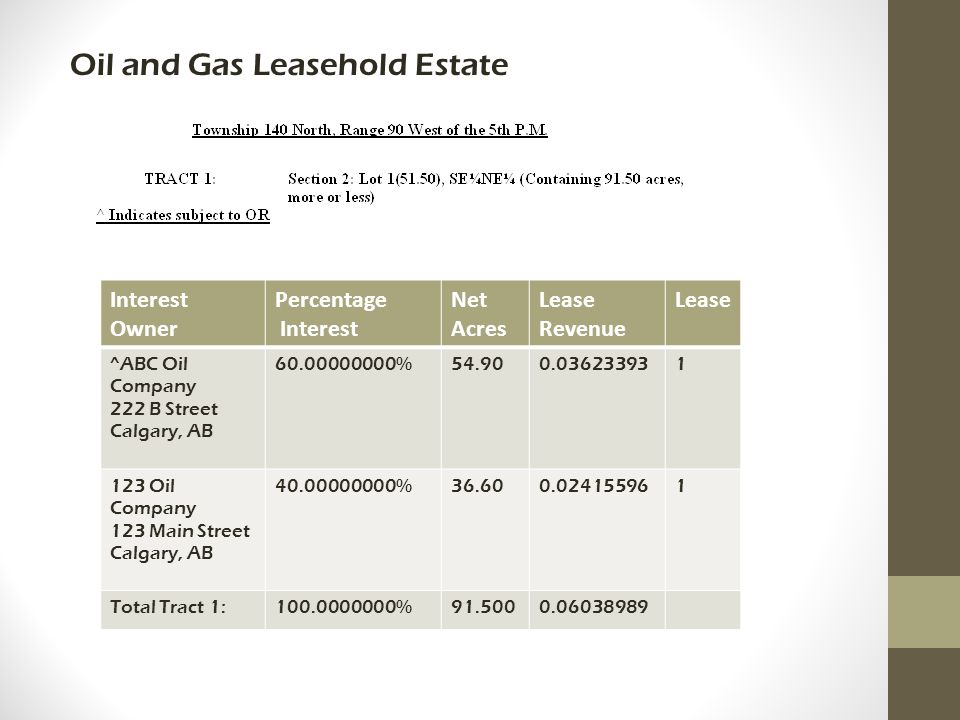 Oil and Gas Leasehold Estate